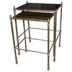 French Brass Mirrored Tops Nesting or Side Tables