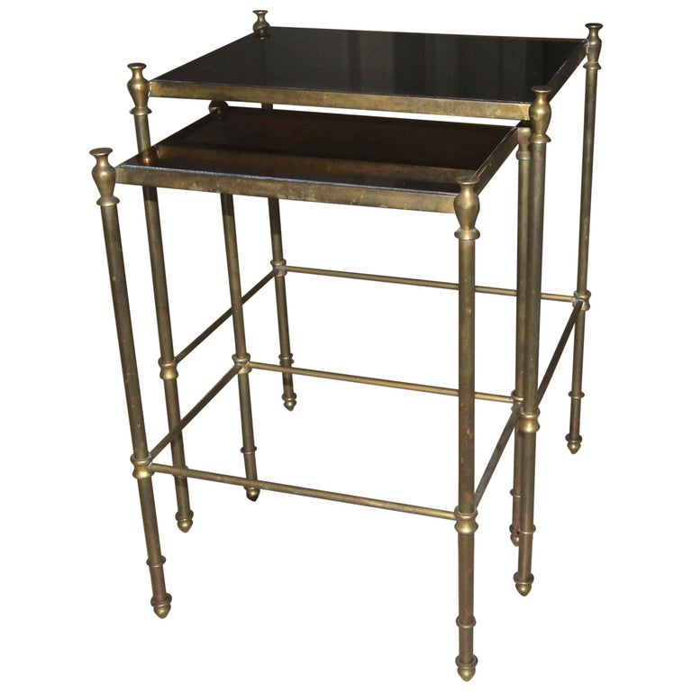 French Brass Mirrored Tops Nesting or Side Tables For Sale