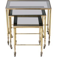 French Brass Nesting Tables with Wheels, circa 1950