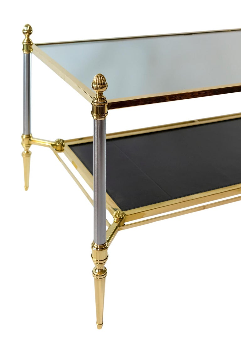 Mid-Century Modern French Brass, Nikel, Leather and Glass Coffee Table, by Maison Jansen For Sale