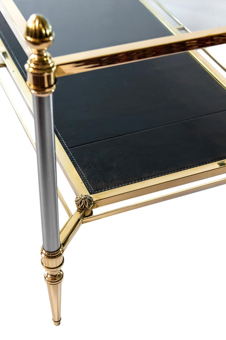 French Brass, Nikel, Leather and Glass Coffee Table, by Maison Jansen In Good Condition For Sale In Vilnius, LT
