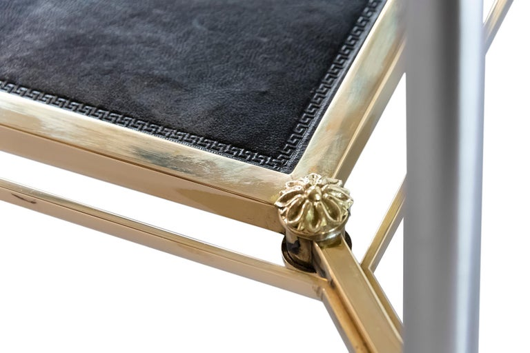 20th Century French Brass, Nikel, Leather and Glass Coffee Table, by Maison Jansen For Sale