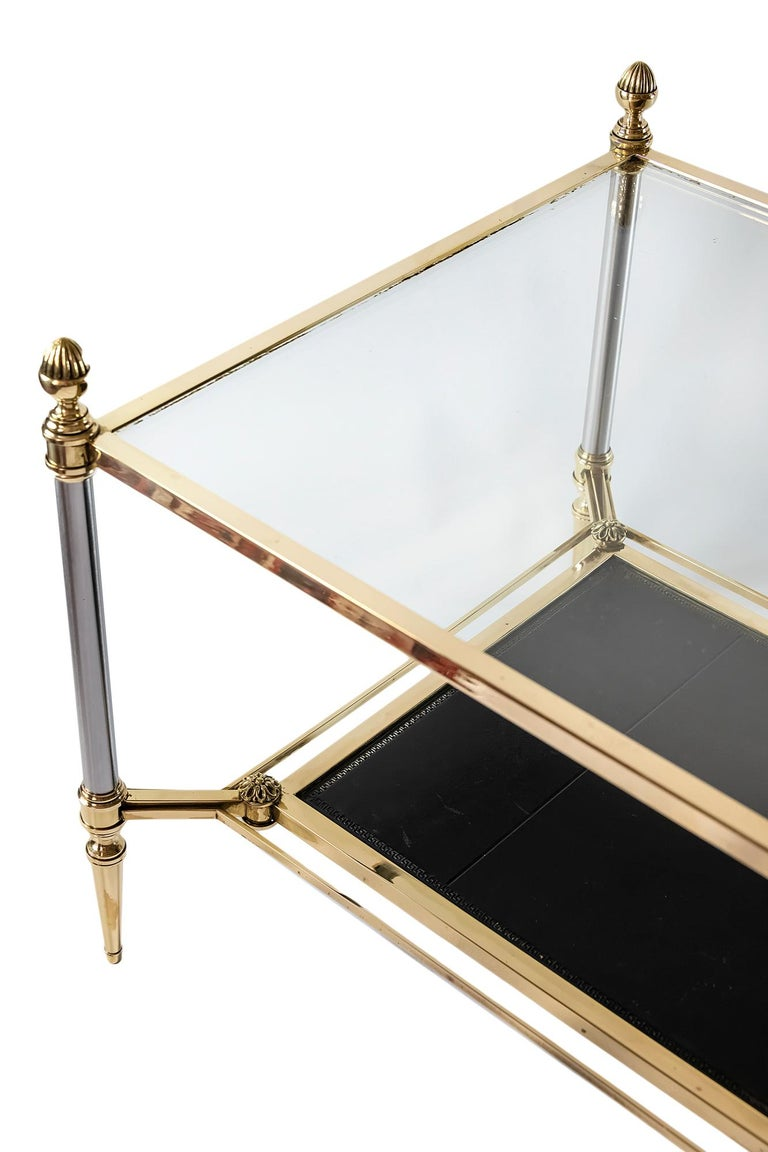 French Brass, Nikel, Leather and Glass Coffee Table, by Maison Jansen For Sale 1