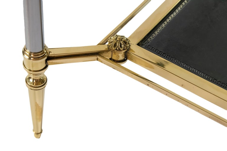 French Brass, Nikel, Leather and Glass Coffee Table, by Maison Jansen For Sale 3