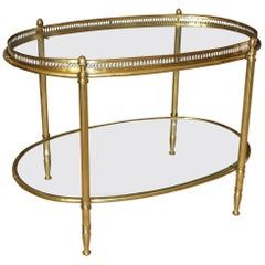French Brass Oval Two-Tier Side or Coffee Table