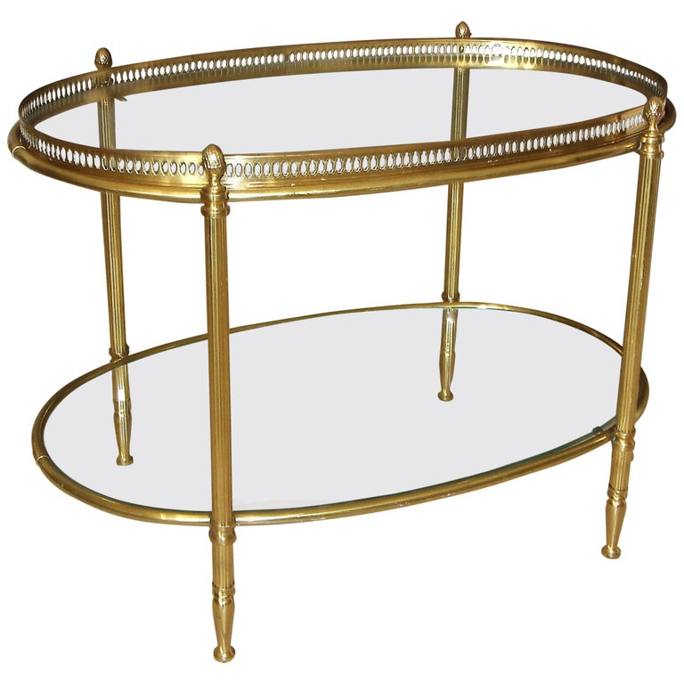 French Brass Oval Two-Tier Side Or Coffee Table For Sale