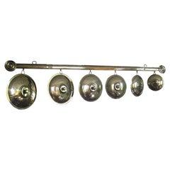 French Brass Pot Lids on Hanger