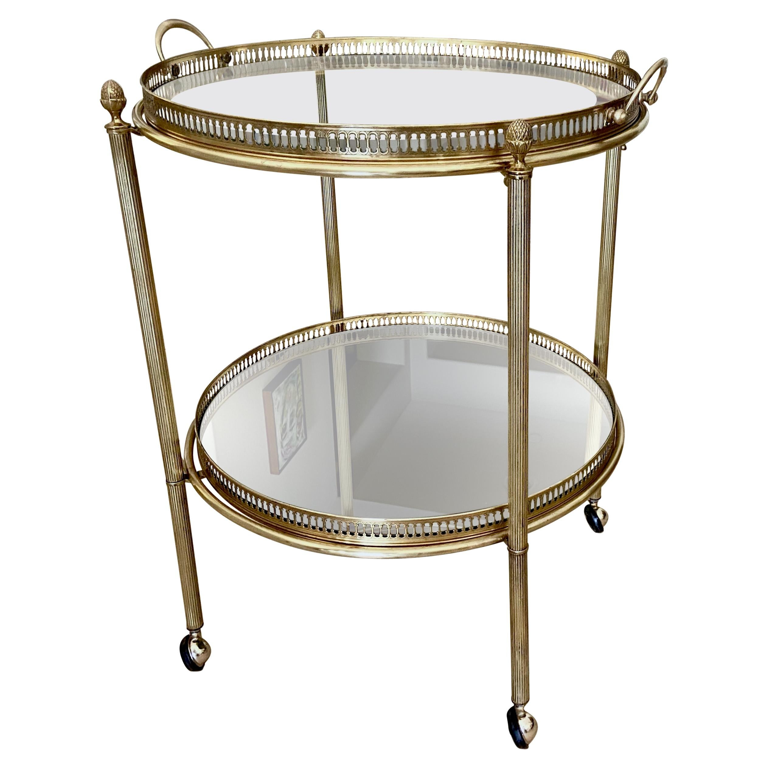 French Brass Round Two Tier Bar or Tea Cart