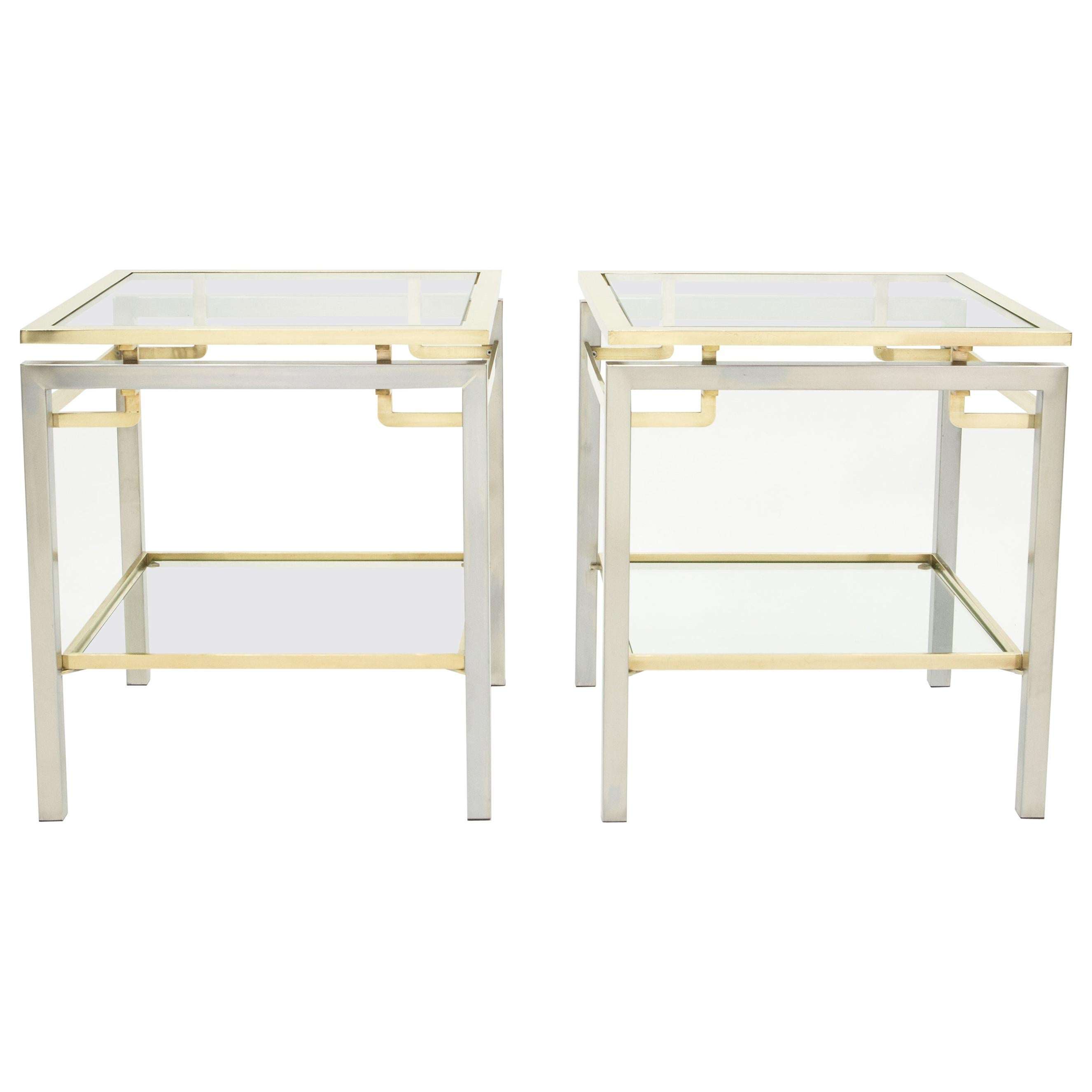 French Brass Steel Two-Tier End Tables Guy Lefevre for Maison Jansen, 1970s