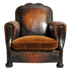 French Brass-Studded Leather Chair