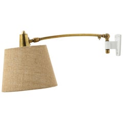 French Brass Swing Arm Wall Lamp on Aluminum Mount, 1960