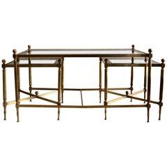 French Brass Three-Piece Coffee Table Jansen Style