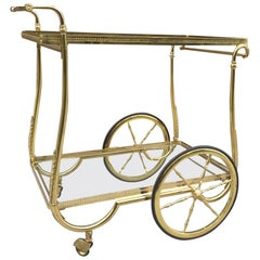 French Brass Two-Tier Bar Cart