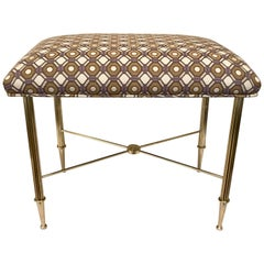 French Brass Upholstered Bench or Stool with Reeded Legs