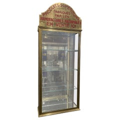 French Brass Wall Display Cabinet, Early 1900s