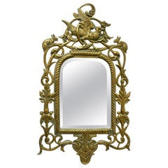 French Brass Wall Mirror Decorated with Birds and Rabbits