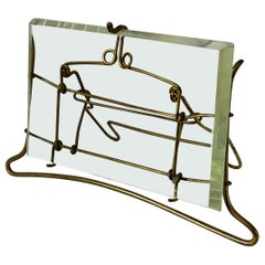 French Brass Wire and Beveled Glass Photo Frame
