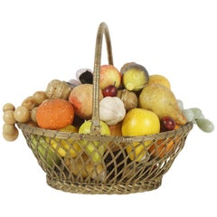 French Brass Wire Basket with Carved Stone Fruit from Estate of Bunny Mellon