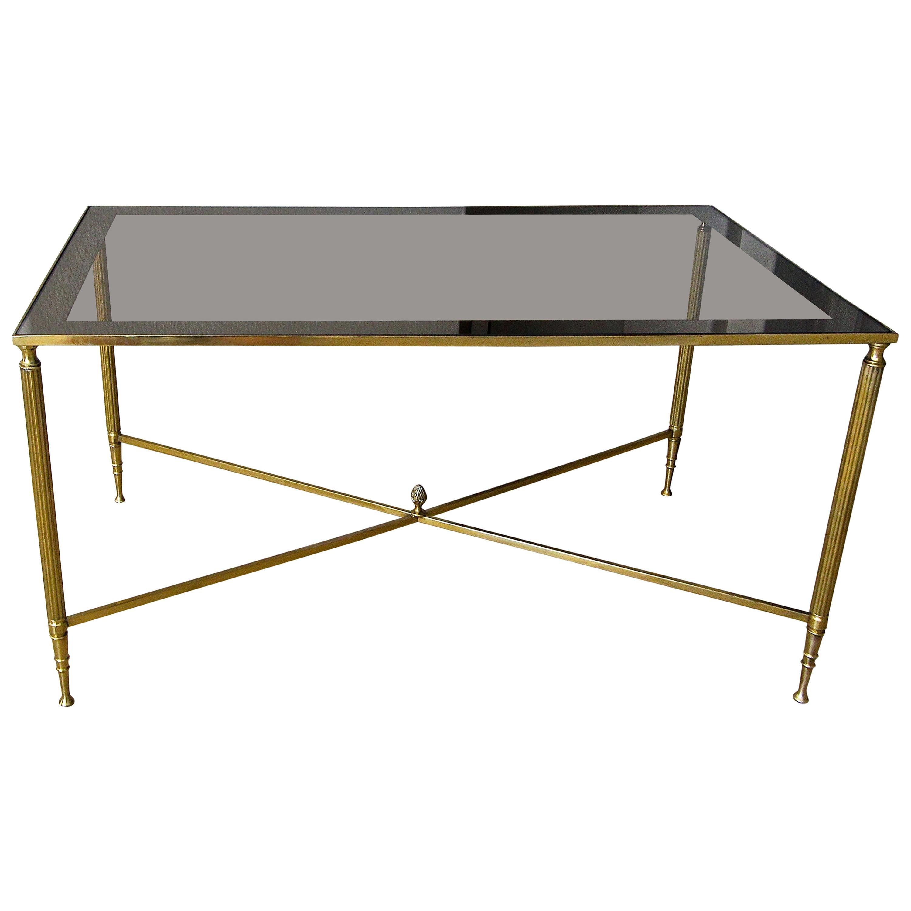 French Brass X Base Coffee Cocktail Table