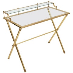 French Brass X-Frame Writing Desk with Glass Top, circa 1970