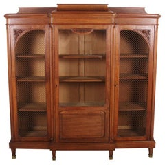 French Breakfront Walnut Bookcase with Bevelled Glass