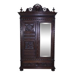 French Brettone Oak Wardrobe, circa 1880