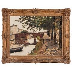 French Bridge Landscape with Original Ornate Frame