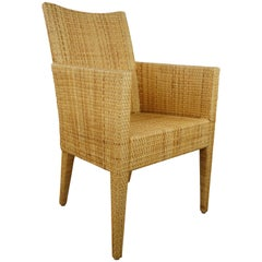 French Bridge Rattan Wicker Armchair