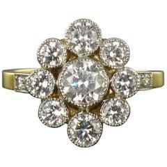 French Brilliant Cut Diamond Gold Platinum Cluster Engagement Ring