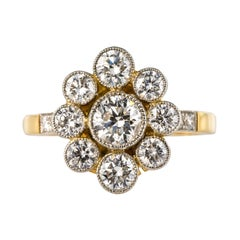 French Brilliant Cut Diamond Gold Platinum Cluster Engagement Ring