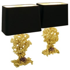 French Bronze and Amethyst Table Lamps by Claude Victor Boeltz, 1970s