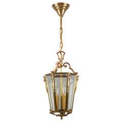 French Bronze and Beveled Glass Three-Light Hanging Lantern