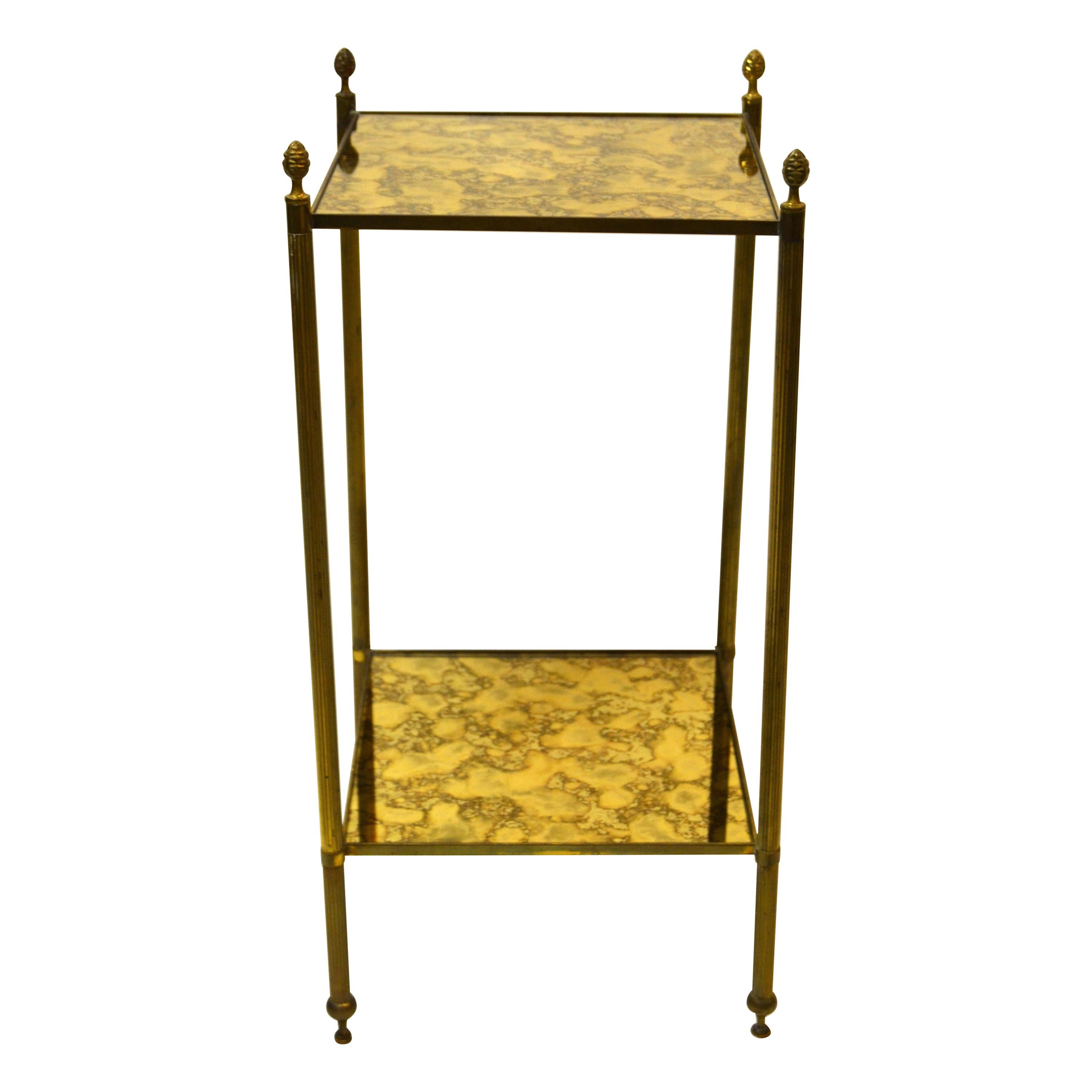Pair Of French Bronze and Brass Maison Baguès Square Two-Tier Side Table