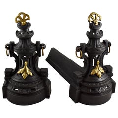 French Bronze and Cast Iron Second Empire Firedogs, Andirons or Chenets