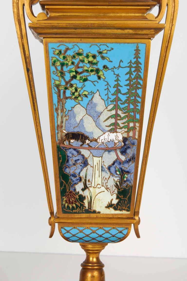 French Bronze and Champleve Cloisonne Enamel Five-Piece Clock Garniture Set 1