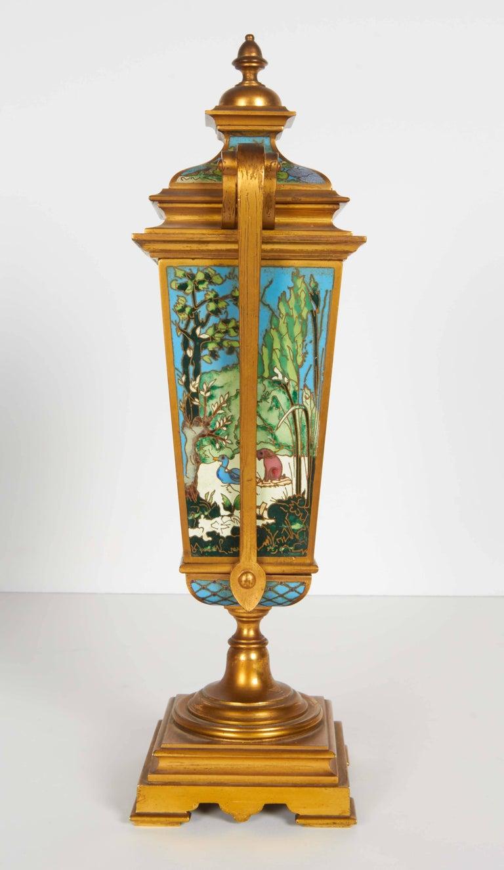French Bronze and Champleve Cloisonne Enamel Five-Piece Clock Garniture Set 2