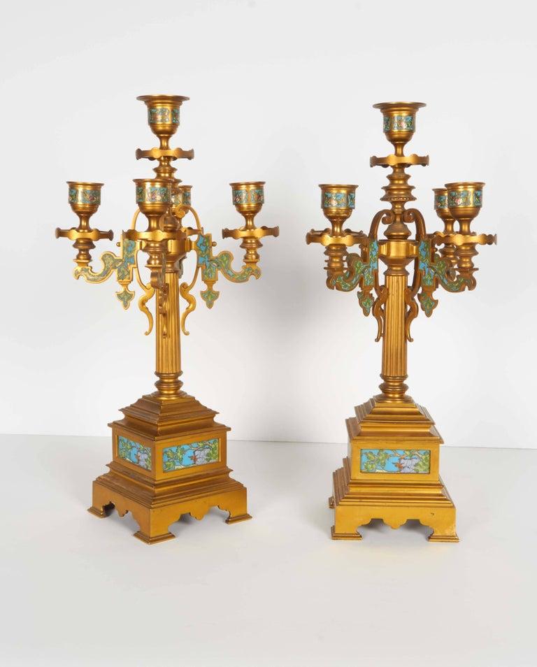 French Bronze and Champleve Cloisonne Enamel Five-Piece Clock Garniture Set 3