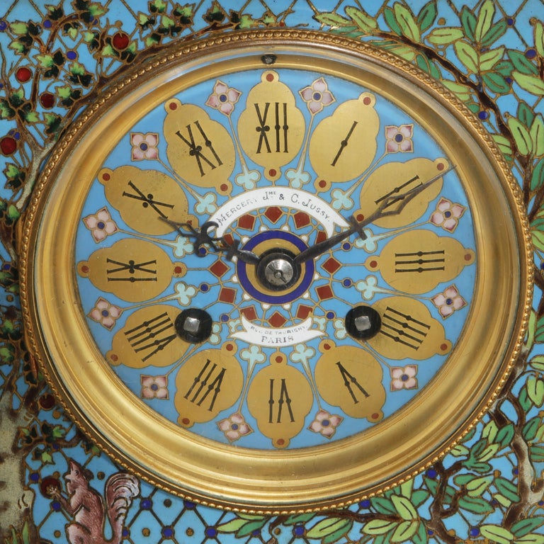 French Bronze and Champleve Cloisonne Enamel Five-Piece Clock Garniture Set 4