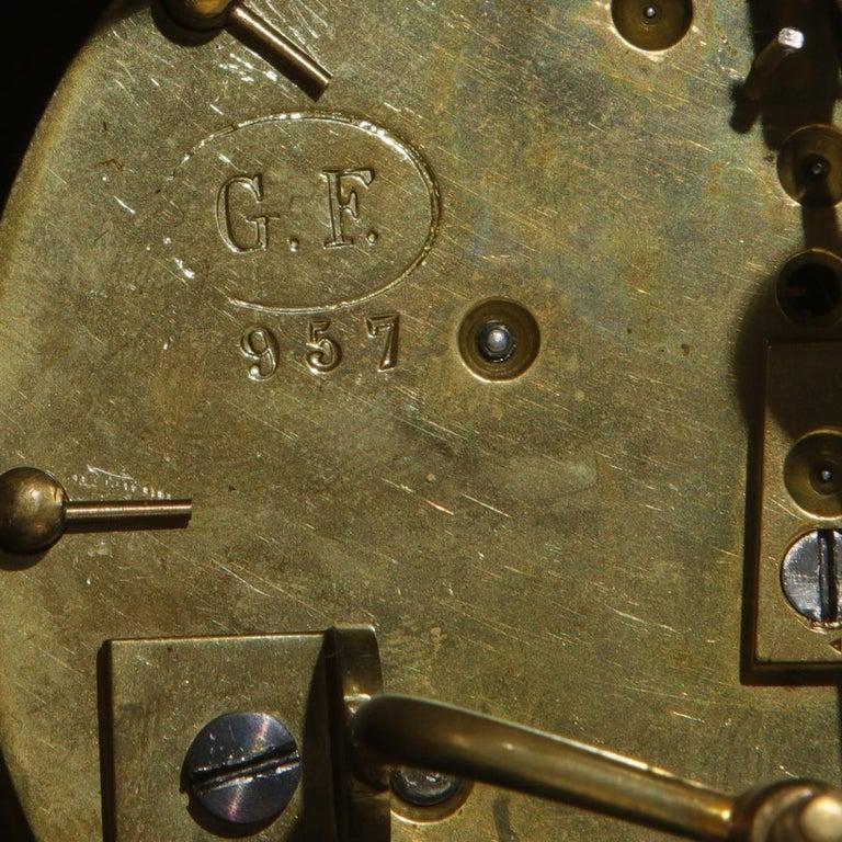 French Bronze and Champleve Cloisonne Enamel Five-Piece Clock Garniture Set 5