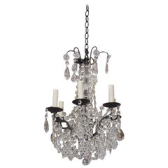French Bronze and Crystal Six Light Chandelier Originally Candle Power, C. 1860