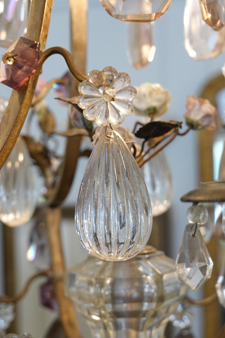 French Bronze and Crystal Chandelier with Porcelain Flowers For Sale 6