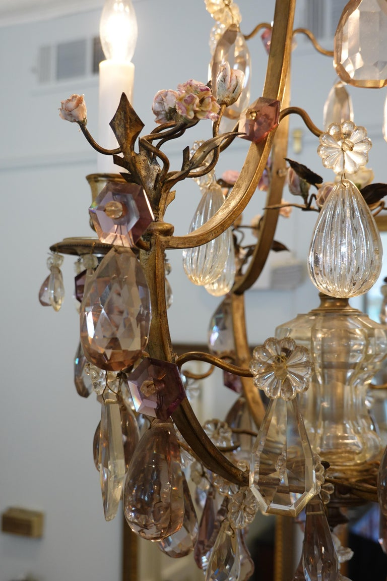 French Bronze and Crystal Chandelier with Porcelain Flowers For Sale 7