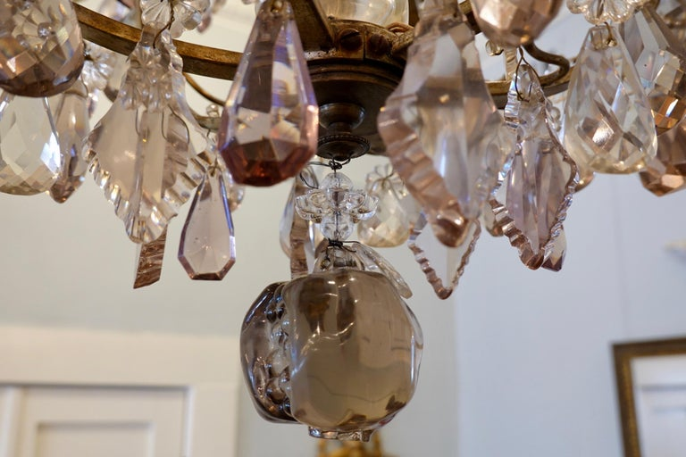 French Bronze and Crystal Chandelier with Porcelain Flowers For Sale 8