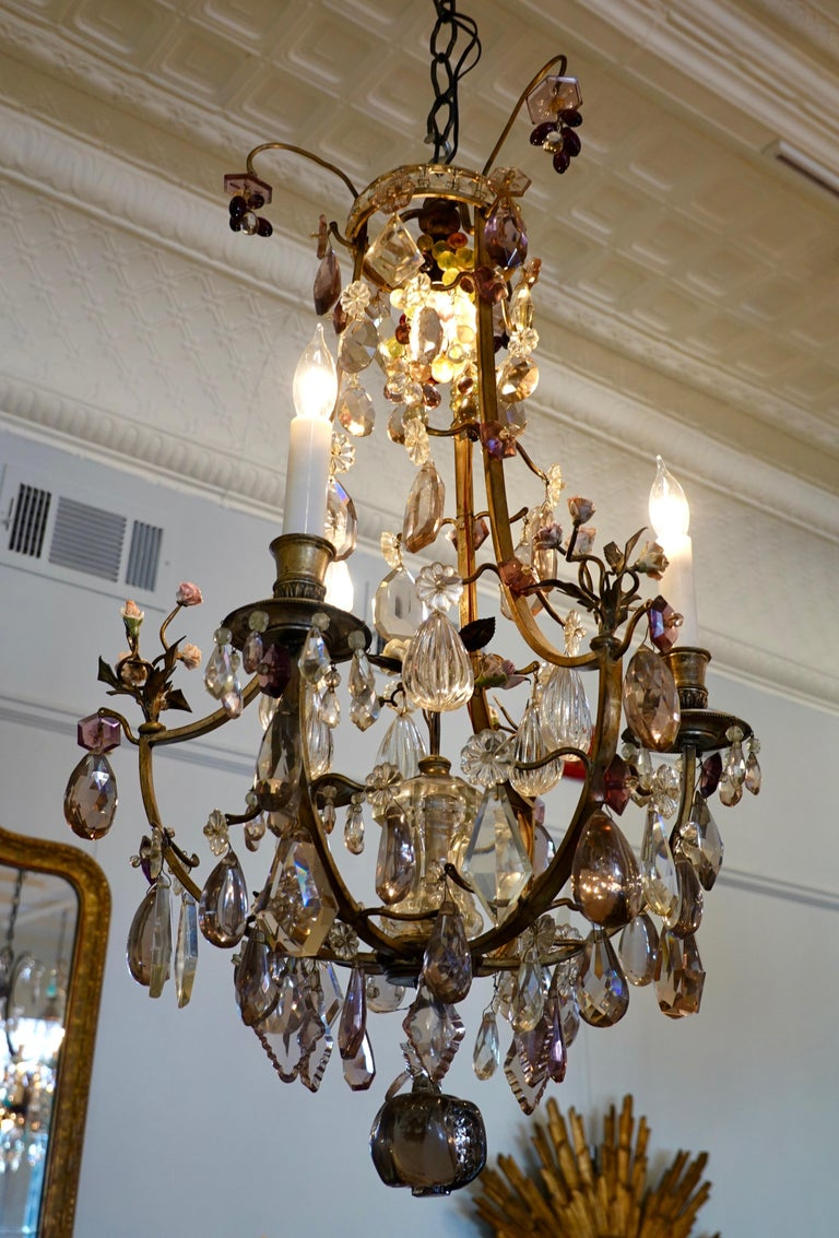 Louis XVI French Bronze and Crystal Chandelier with Porcelain Flowers For Sale