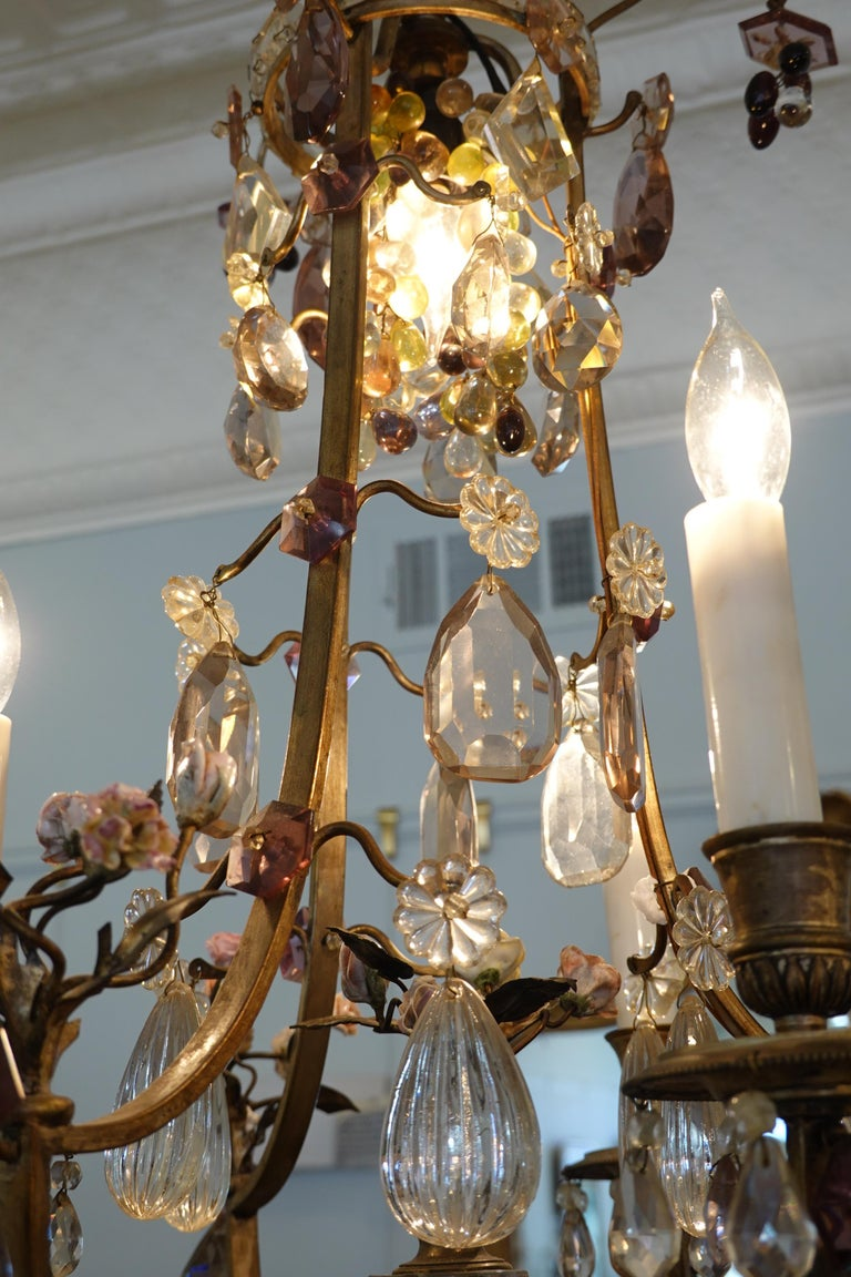 French Bronze and Crystal Chandelier with Porcelain Flowers In Good Condition For Sale In Charleston, SC