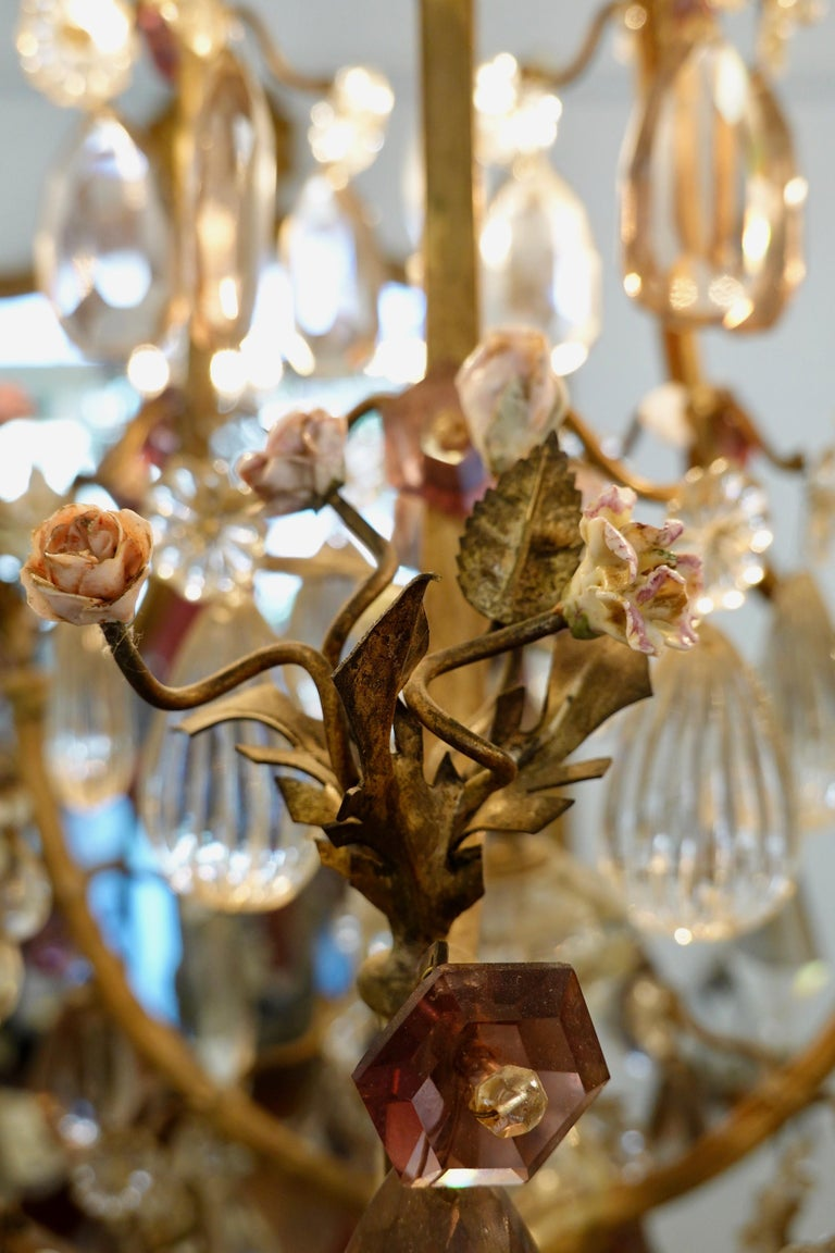 French Bronze and Crystal Chandelier with Porcelain Flowers For Sale 4