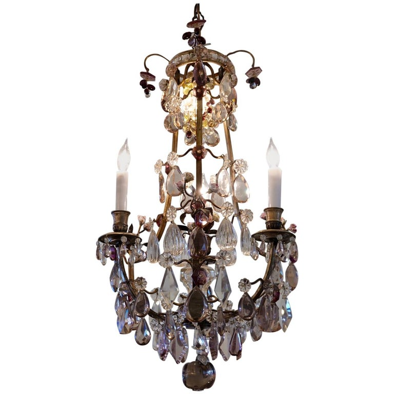 French Bronze and Crystal Chandelier with Porcelain Flowers For Sale