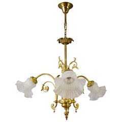 French Bronze and Frosted Glass Three-Light Chandelier