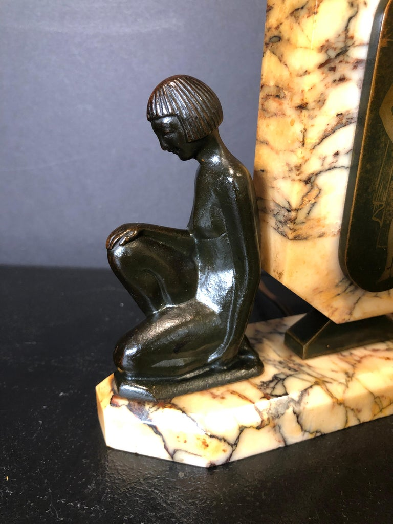 Patinated French Bronze and Marble Art Deco Figural Lamp For Sale