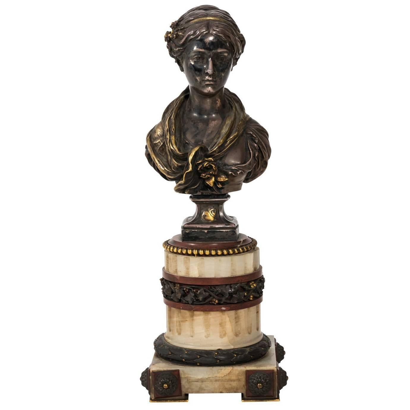 French Bronze and Marble Bust by L. Gregoire, circa 1878